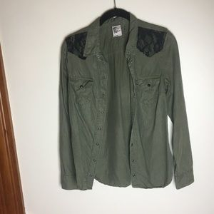 H&M army green button up with black lace